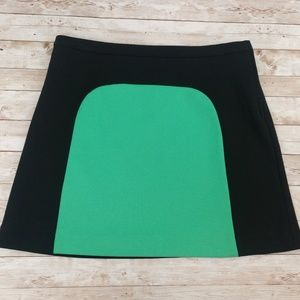 Vivienne Tam Black/Holly Green Colorblock Skirt
